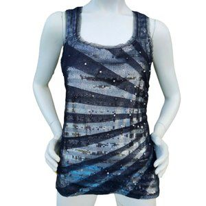 WHBM Sequin and Mesh Tank Top